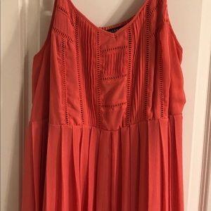 Torrid coral chiffon pleated maxi dress